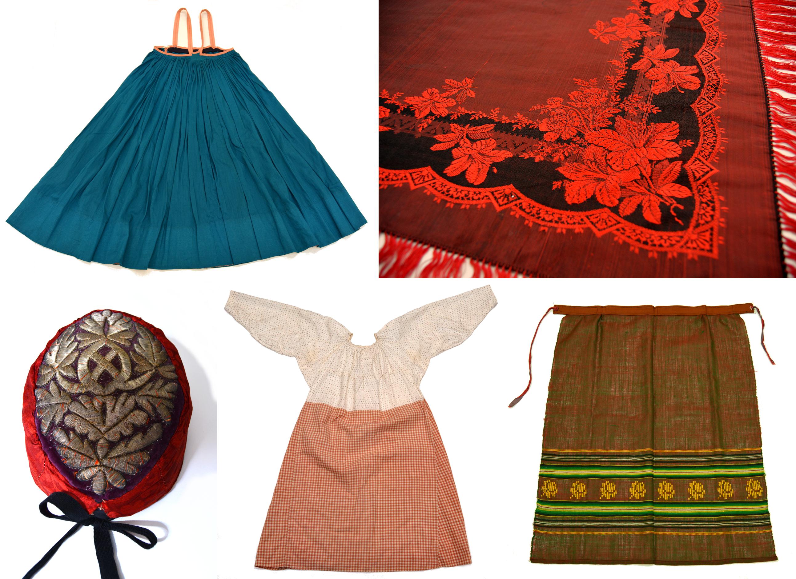 Viisi erilaista karjalaista perinne asua. Yksi päähine, yksi silkkihuivi, yksi esiliina, yksi hame, yksi mekko