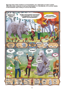 Sarjakuvasanakirjan sivu, jossa päähenkilöt tapaavat toisensa eli poika ja tyttö tapaavat karhun ja he vertailevat toinen toisiaan.