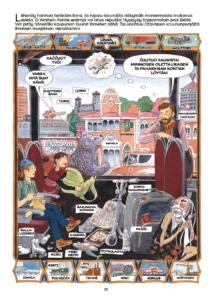 Sarjakuvasanakirjan sivu, jossa poika, tyttö ja karhu saapuvat kaupunkiin ja katsovat maisemia.