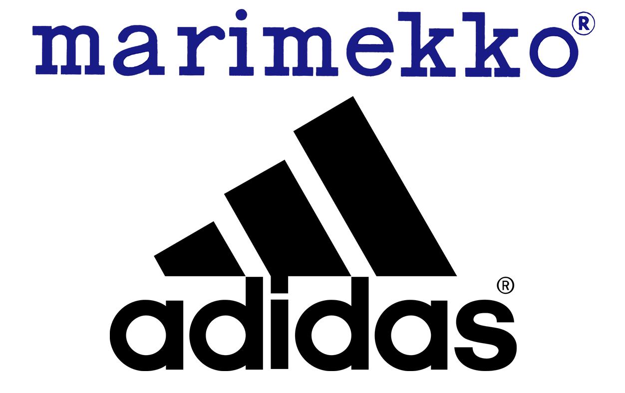 Marimekon sininen logo ja Adidaksen musta logo päällekkäin.