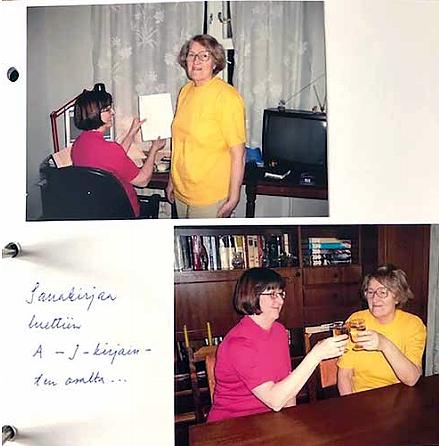 Kaksi naista kahdessa kuvassa. Toisessa tietokoneen äärellä ja toisessa kilistetään laseja pöydän äärellä.