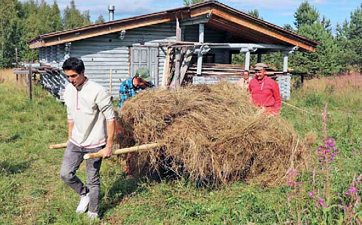 Mies vetää heinälastia kärryillä pellolla, missä on harmaa puutalo. Kaksi muuta miestä tukee heinälastia.