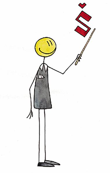 Piirretty opettajahahmo, jolla on karttakeppi ja karttakepin päällä on hatullinen s-kirjain